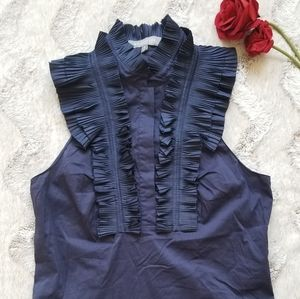 MM Couture By Miss Me Blue Ruffle Sleeveless Top S
